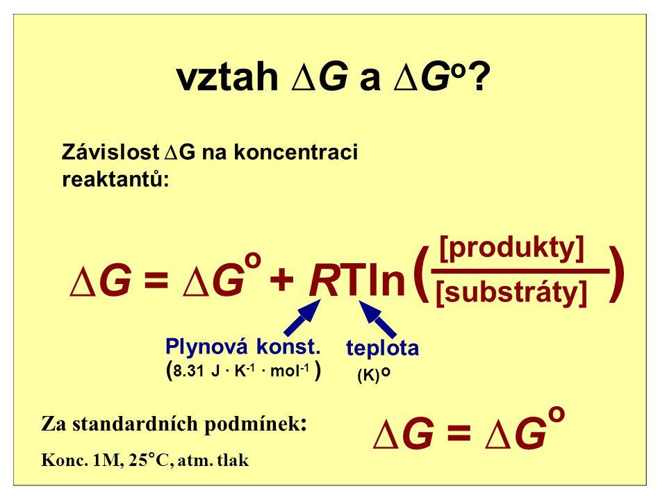 ( ) ∆ G = ∆ G + R Tln ∆ G = ∆ G vztah ∆G a ∆Go [produkty] o